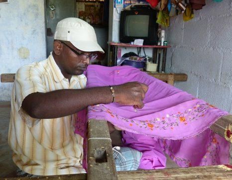 Karthik embroiders a saaree